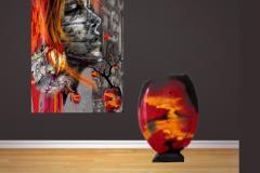 """""""Et åndedrag"""" (Glasvase og maleri passer sammen)."""